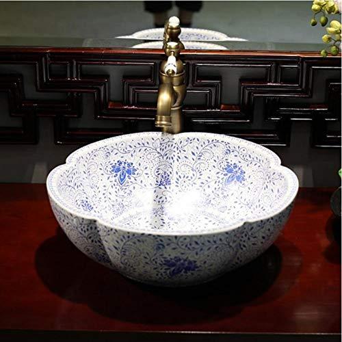 Ykxykw blauwe en witte China artistieke handgemaakte keramische wastafel ovaal Counter Top commerciële bad snoepjes