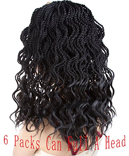 Goddess Senegalese Twist Crochet Hair Braids Wavy Ends Kanekalon Braiding Hair 2X Deep Wave Havana Mambo Dreadlocks Synthetic Braids Hair Extensions 6 Packs 35Strands/pack. (14, 1B#) …