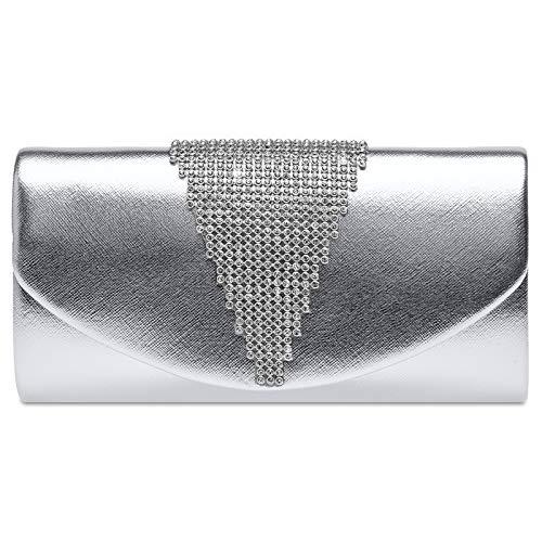 Caspar TA510 Damen Metallic Clutch Tasche mit ausgefallenem Strass Dekor, Farbe:silber, Größe:Einheitsgröße