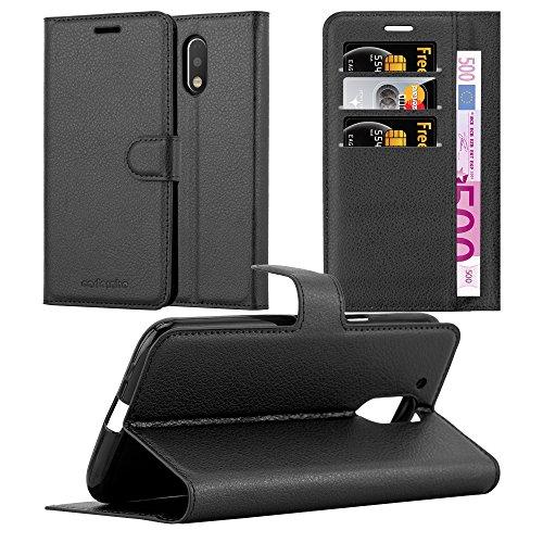 Cadorabo Funda Libro para Motorola Moto G4 en Negro Fantasma - Cubierta Proteccíon con Cierre Magnético, Tarjetero y Función de Suporte - Etui Case Cover Carcasa