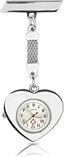 WIOR Lapel Pin Nurse Watch Paramedic Doctor Brooch Pocket Watch Quartz Movement Nurses Watch Womens Girls Heart Fob Clip on Hanging Watch for Christmas Birthday Mothers Day Gift - Silver