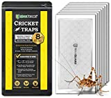MaxGuard Extra Large Cricket Traps (8 Traps) | Non-Toxic Extra Sticky Glue Board Pre-Baited Cricket Attractant | Trap & Kill House Crickets, Insects, Spiders, Bugs |