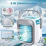 Bumplebee Mobile Klimageräte Mini Luftkühler, Wiederaufladbarer Air Conditioner USB Klimaanlage mit Griff, Verdunstungskühler Ventilator, Leise Tragbar Kühler für Heim, Büro, Camping (Weiß)