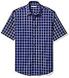Amazon Essentials Men's Regular-Fit Short-Sleeve Casual Poplin Shirt, Navy Windowpane, Large