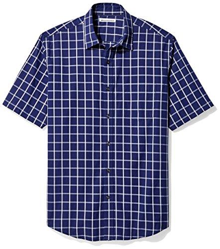 Amazon Essentials Men's Regular-Fit Short-Sleeve Casual Poplin Shirt, Navy Windowpane, X-Large