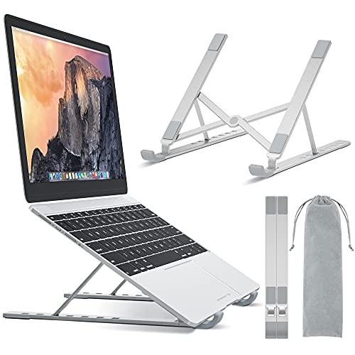 BONTEC Portable Laptop Stands for 10-17.3 inch Laptops Tablet, 7 Levels Height Adjustment Aluminum Laptop Computer Riser, Ventilated Cooling Desktop Laptop Holder Supports up to 20KG