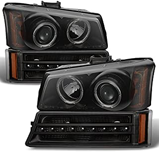 For 2003-2006 Chevy Silverado Replacement Black Smoked LED Halo Head Lights Pair + LED DRL Signal Lights