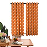 DRAGON VINES Insulated Solid Grommet top Windproof Curtain Doodle Style Aquarium Animals Pattern on Abstract Orange Background Exotic Fauna Decorative Shading Orange White Set of 2 Panels W72 x L62