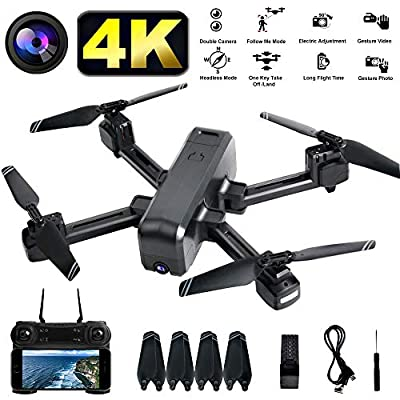 LENDGO Drones with HD 4K Camera for Adults,Dual Camera WIFI FPV Live Video Drone, Follow Me ,Headless Mode, Foldable RC Quadcopter Toy Drones for Beginners and Professionals