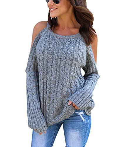 Naliha Jerseys De Invierno para Mujer Jersey Suelto De Punto con Hombros Descubiertos Grey S