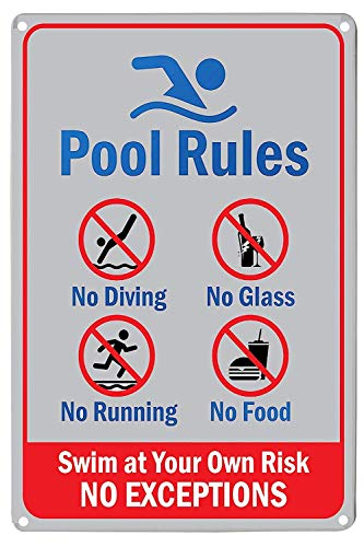 "Pool Rules Schild ""No Diving Running Food"", Glas Swim Risk Closed Warnschilder Safety Rules Not Aufkleber Center Peeing House Decor Outdoor 20,3 x 30,5 cm"