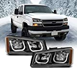 AmeriLite Replacement Headlights for 2003-2006 Chevy Avalanche | Silverado 1500 2500 3500 Black U-Type LED Tube Set - Passenger and Driver Side
