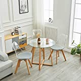 IPOTIUS Mesas de Comedor Redonda de Cristal Moderna Nórdica Mesa de Cocina Café con Patas de Madera Maciza, 80X75cm