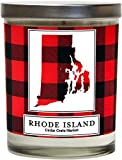 Rhode Island Buffalo Plaid Scented Soy Candle   Fraser Fir, Pine Needle, Cedarwood   10 Oz. Glass Jar Candle   Made in The USA   Decorative Candles   Going Away Gifts for Friends   State Candles