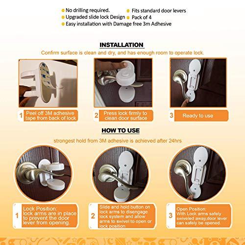 Baby Proofing Door Lever Locks - (Pack of 4) | Door Handle Child Safety Lock | Safety Door Locks for Kids