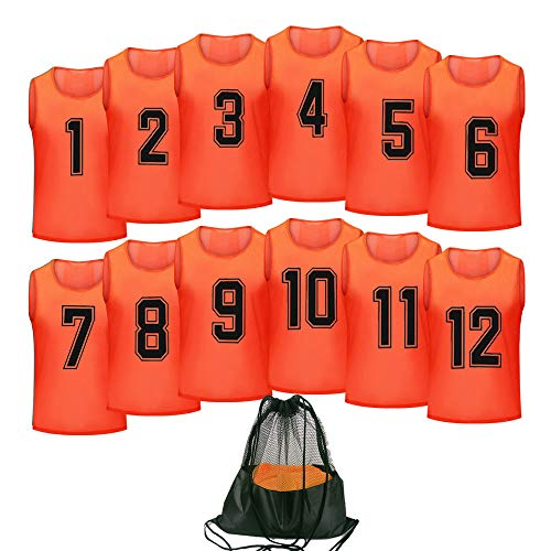 Antoyo Basketball Jersey,Pinnies Adult,Scrimmage Vests for Kids Soccer Training Equipment Orange-XL