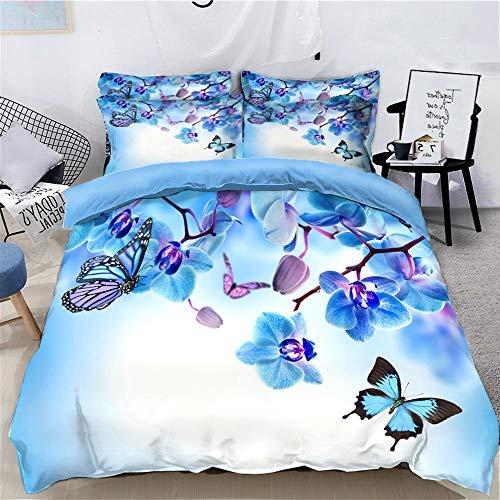Funda Nórdica 220X240Cm ,3D Juego de Ropa de Cama con Cierre de Cremallera, con 2 Fundas de Almohada 50X75Cm,Suave Transpirable,para Adolescentes, Niños - Mariposa Azul, Phalaenopsis