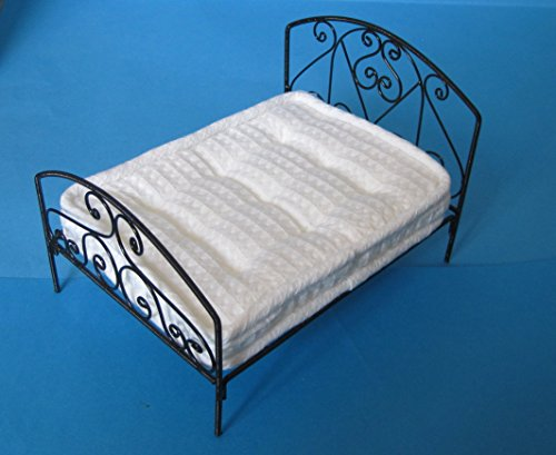 Grosses Puppenbett Doppelbett Metall schwarz Puppenhausmöbel Miniatur 1:12