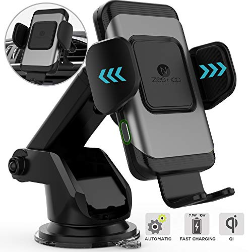 ZeeHoo Wireless Car Charger,10W Qi Fast Charging Auto-Clamping Car Mount,Windshield Dash Air Vent Phone Holder Compatible iPhone 11/11 Pro/11 Pro...