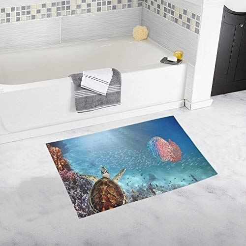 JOCHUAN Tortuga Gigante de Las Medusas Mar Rojo Egipto Alfombra de baño Antideslizante Personalizada Alfombra de baño Alfombra de Piso Alfombra para baño 20 X 32 Pulgadas