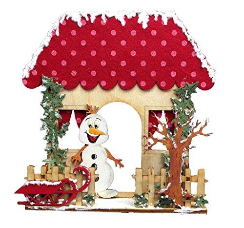 Petra's knutsel-News huis met omheining en sneeuwpop incl. lijm, vilt en houten onderdelen kleur: rood knutselset, hout, houtkleuren, 25 x 18 x 5 cm