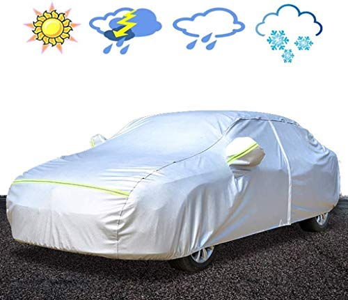 Carohome Autodekzeil, ademend, waterdicht, auto-covers in volledige grootte sneeuwdeken, Custom Fit Sedan - Sliver - Oxford-doek auto mantel met riem en reflectief, Magotan Lang Yi Plus