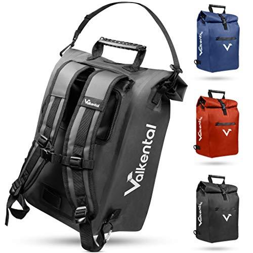 Valkental - 3in1 Fahrradtasche - Geeignet als Gepäckträgertasche, Rucksack und Umhängetasche - Wasserdicht & Reflektierend in Schwarz