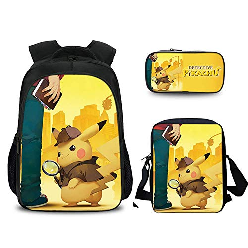 XLST Pokémon Schultasche 3D-Druck Schule Rucksack Anime Charakter Pikachu Beiläufig Rucksack 3 Setzen Sport Büchertasche,D