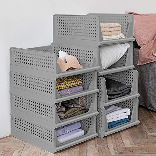 Set di 4 contenitori pieghevoli in plastica, per armadi, armadietti, cassettiere, cassetti impilabili, cassetti per il trasporto, cassetti estraibili – grigio