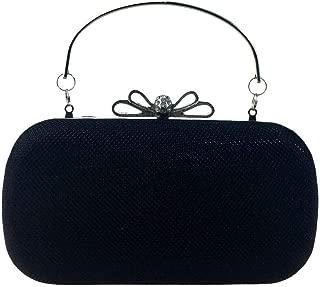 HAIMEI-US Women's Sheeny Solid Color PU Leather Hard Box Banquet Clutch Bag Diamond Bow Dress Bag Eventide Bag Chain Shoulder Messenger Bag Ladies Bag (Color : Black)