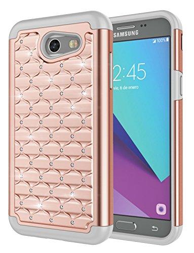 Galaxy J3 2017 Case,J3 Prime,J3 Emerge/Galaxy Sol 2/J3 Eclipse/J3 Mission Case, Jeylly [Diamond Star] Hybrid Rubber Plastic Shock Absorbing Studded Rhinestone Crystal Bling Rugged Case (Rose)