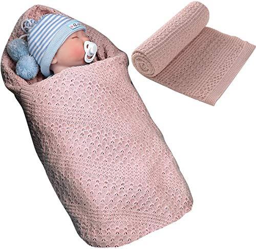 SZYYKJ Manta para bebé recién nacido, manta de punto de algodón para bebé recién nacido, para cochecito de bebé, unisex, 39.5 x 31.5 pulgadas (rosa)