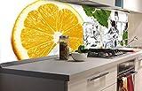 DIMEX LINE Küchenrückwand Folie selbstklebend Zitrone UND EIS | Klebefolie - Dekofolie - Spritzschutz für Küche | Premium QUALITÄT - Made in EU | 180 cm x 60 cm