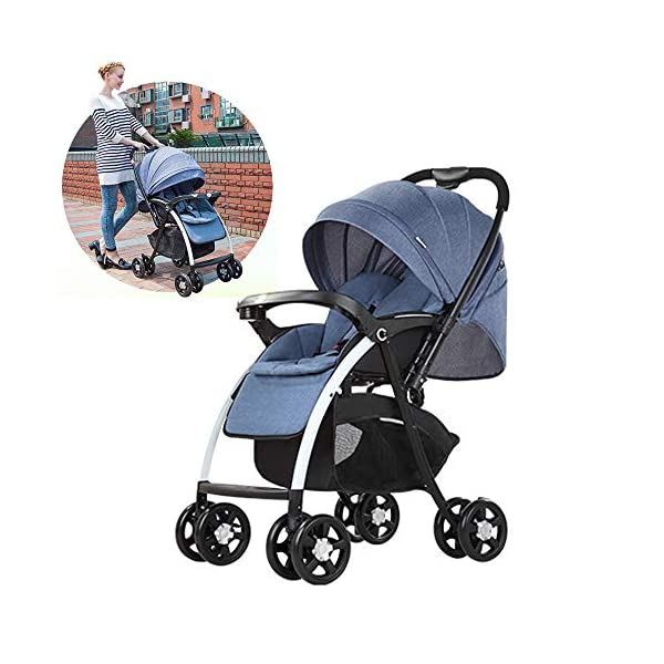 MOMOJA Foldable Baby Stroller Pushchairs 5 Point Harness Max Capacity 25kg (Blue) MOMOJA Easy folding - this pushchair is as easy to fold away as possible - the comfort stroller can be folded with one hand only within seconds, leaving one hand always free for your little ray of sunshine. Long use - this buggy can be used for a very long time; it is suitable From birth (also compatible with 2-in-1 carrycot or comfort fix infant car seat) up to a maximum of 25 kg. Comfortable - backfriendly push handle adjustable in height; backrest and footrest are multi-adjustable, the hood extendable; in addition, the pushchair comes with suspension, swiveling front wheels, soft padding and large shopping basket. 4