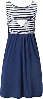 Liu & Qu Women's Sleeveless Nursing Dress Stripe Maternity Dress Breastfeeding Clothes