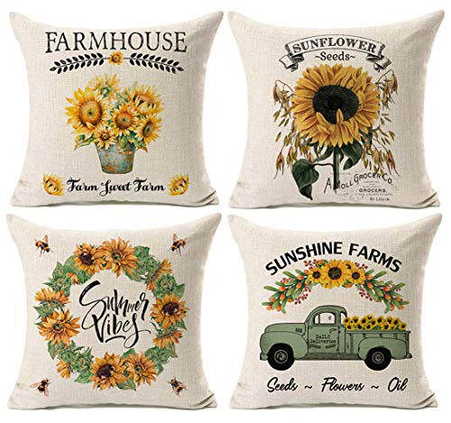 Kithomer Set of 4 Summer Graden Decorative Throw Pillow Cover Watercolor Truck with Sunflower Retro Farmhouse Decorative Pillow Case Cushion Cover for Sofa Home Decor 18 inch