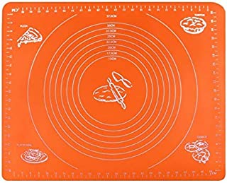 VIQILANY 70x50cm Large Silicone Mat with Measurements,for Baking,Sugar craft,Fondant,Pastry,Icing Cake,Clay - Orange