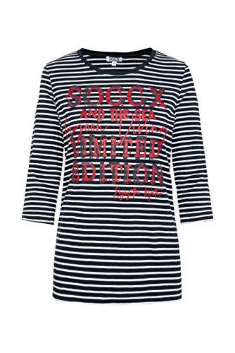 SOCCX Damen Streifenshirt mit Glitter Print