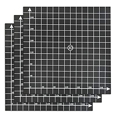 YOTINO 3Pcs Building Surfaces for 3D Printer, Building Surface 300x300 mm with 3M Adhesive (Black)