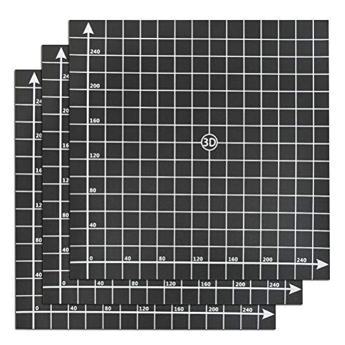 YOTINO 3-teilige Gebäudefläche für 3D-Drucker, Gebäudefläche 300x300 mm mit 3M-Kleber (schwarz)