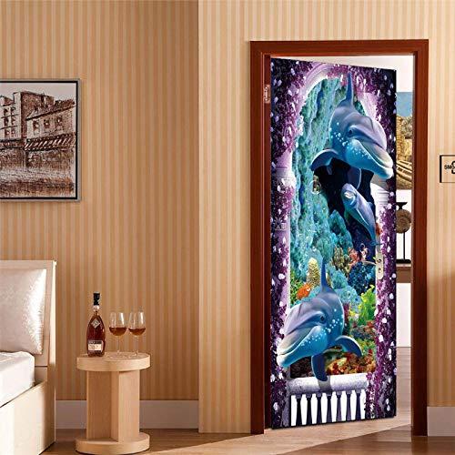 JYXJJKK Door Stickers Bedroom Living Room Underwater world animal dolphin 90x210 cm Vinyl Boys Art Bedrooms Poster Room wall art Home Decor PVC Self Adhesive Diy door Poster Mural Waterproof Office