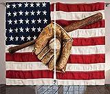 Verdunkelungsvorhänge, Wärmeisolierung/Wärme im Winter, können Innenmöbel schützen & ultraviolette Strahlung reduzieren Baseball Vorhang amerikanische Flagge Vintage Baseballhandschuh Fledermaussc