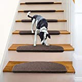 Aucuda Comme Rug Non-Slip Brown Tread Bullnose Carpet Indoor Durable Mat Self Adhesive Protectors for Dogs and Kids Set of 13 Modern Stair Cover for Hard Floor Staircase 9Inch x 26 Inch