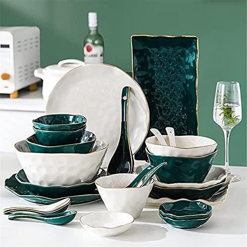 Juego de Platos, Conjuntos de vajillas de 52 PC, vajilla de porcelana de hueso de estilo nórdico con platos y tazones de platos, cena de cerámica blanca verde con borde de oro para cocina y comedor, s