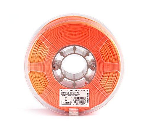 eSUN 1.75mm Orange ABS 3D Printer Filament 1kg Spool (2.2lbs), Orange