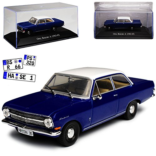 Atlas Opel Rekord A 2 türige Limousine Blau mit Weissem Dach 1963-1965 Mit Sockel und Vitrine 1/43 Modell Auto