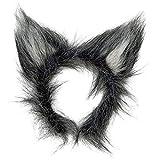 Widmann 2324W – Haarreifen Wolfs Ohren, aus Plüsch, schwarz, für Wolf- und Katzenkostüme,...