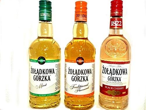 Dreierpack 3x0,5L Polnischer Wodka Vodka 1 Zoladkowa Gorzka, 1 Minze , 1 Black Cherry. 3 Flaschen Gesamt