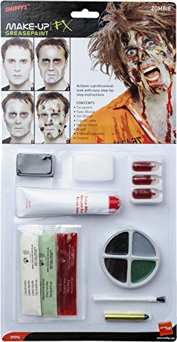 Smiffy's-39094 Kit de Zombi, Pintura Facial, Falsa, Sangre en Gel, látex líquid, Color Natural, No es Applicable (39094)
