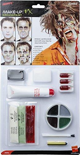 Smiffy\'s-39094 Kit de Zombi, Pintura Facial, Falsa, Sangre en Gel, látex líquid, Color Natural, No es Applicable (39094)